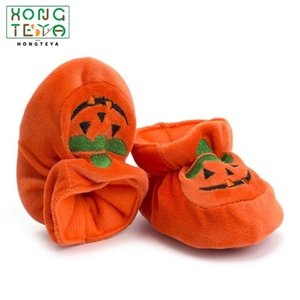 Halloween Gift Baby Pumpkin Socks Shoes Warm Velvet Holiday Newborn Boots Soft Sole Toddler Indoor Crib Shoes Orange CuteGh8o#