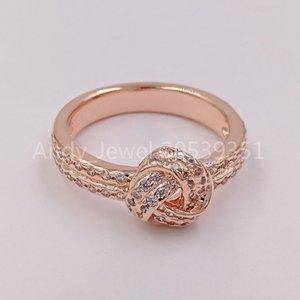 Authentique Argent 925 perles mousseux noeud d'amour Bague, Charms Pandora Rose Effacer Cz Bijoux Bracelets Fits Pandora style européen