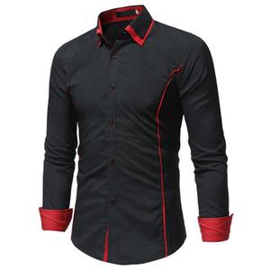 Camicia a maniche lunghe marca di modo degli uomini dimagriscono il doppio disegno del collare Camicia casual Plus Size Nero