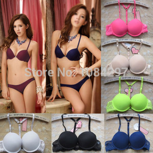 Lace Sexy Mulheres Set Underwear Push Up fechamento frontal Y-line Bra Sets Blue B Copa z