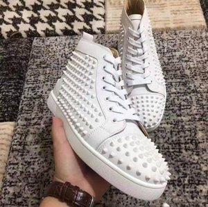 Sneakers Designer pattini casuali delle donne degli uomini delle scarpe da tennis Spikes inferiori rossi della scarpa da tennis Abito scarpe parte gli amanti della festa di nozze Vera Pelle All White