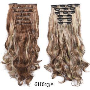20 pulgadas de alta temperatura de la fibra sintética de la armadura 16 clips en extensiones de cabello para las mujeres Postizos Ombre Brown postizos