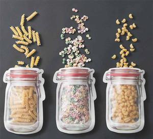 Mason Kavanoz Toplu Gıda Depolama Için Şekilli Fermuar Gıda Saklama Torbaları Konteyner Resuable Aperatifler Hava ...