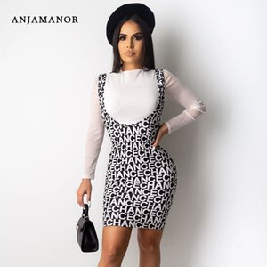 ANJAMANOR Fashion Print Long Sleeve Two Piece Skirt Set Women Autumn Winter Clothes 2019 Sexy 2 Piece Club Outfits D91-AE39