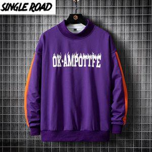 SingleRoad Мужских Crewneck Толстовка Мужчины фиолетовый Лоскутный Крупногабаритный Японский Streetwear Hip Hop Толстовка Мужчины Толстовка Толстовка