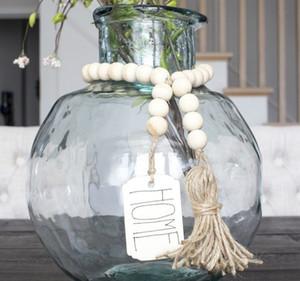 Holz Perle Garland mit Quasten und DIY Tag Umweltfreundlich natürlichen handgemachte Nordeuropa-Art-Bauernhof Dekoration