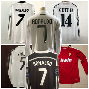 2001 02 03 04 05 2010 2011 2012 2013 2014 2015 16 17 Real Madrid KAKA RONALDO RAUL ZIDANE camisa de manga longa retro camisa de futebol de futebol