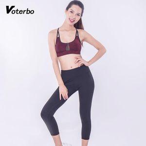 Voterbo ropa de la aptitud de la yoga de 2 piezas juegos de los deportes de peso ligero de malla transpirable Insertar cultivos de Set Mujeres más alto de la cintura de las polainas
