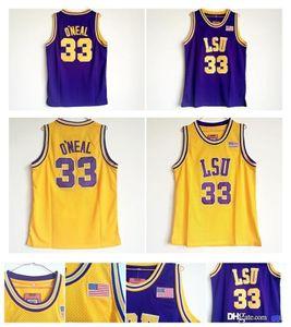 Shaq Shaquille O'Neal Jersey Tigers Jersey Shaquille O Neal College Basketball Jerseys ¡Camisa de deportes púrpura amarilla calidad superior!