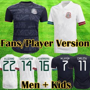 Mexico Versão do jogador de México camisa de futebol 2020 Camisetas Copa do ouro camisas de futebol LOZANO CHICHARITO HERRERA GUARDADO Homens Crianças uniformes maillots