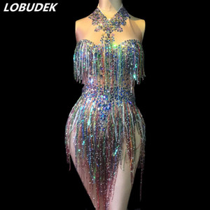2 Style Glands colorés clignotant cristaux Paillettes Sexy Bodysuit Backless Strass Bodys Nightclub équipes de danse Costumes DS Stage Porter