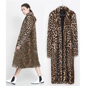Lanshifei Junge Mädchen-Pelz-Mantel-langer Mantel Pelliccia Frau Short-Pelz-Jacke Frauen-Europa-X-Long Leopard Faux-Jacke