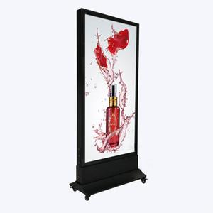 60 * 160см Магнитный светильник Billboard Рекламный дисплей Открытый Мобильный двухсторонний водонепроницаемый лайтбокс с базовыми колесами Деревянная упаковка