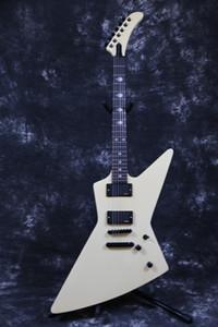 James Hetfield Heavy Metal MX-220 Signature crème blanche Explorateur guitare électrique EET FUK Fingerboard Inlay, Copier EMG Pickups, matériel noir