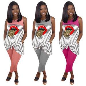 Plusgröße 3X Sommerfrauen Marke nach Hause Kleid zweiteiliger Satz Modeschöpferin Yoga-Kleidung sleeveless gestreifte Weste T-Shirt + Hosengamaschen 2969