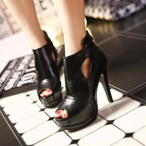 Supply Wholesale 2018 Spring and Autumn New European and American Zipper Boots Black Waterproof Platform Ultra-High Heel Fish Mouth Thin Hee