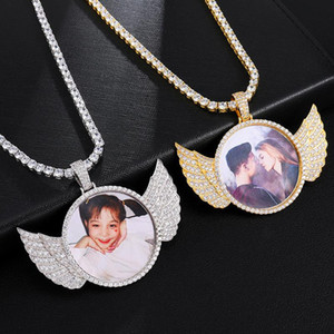 Custom Made Fotoğraf Wings buzlu Out Tenis Zincirli Kübik Zirkon Kolye kolye İçin Erkekler Hip Hop Takı Bling