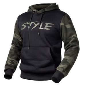 Camouflage Giacche Lettera con cappuccio da uomo Stampa casuale Fleece Jacket tattico Autunno Sottile Camo con cappuccio Pullover