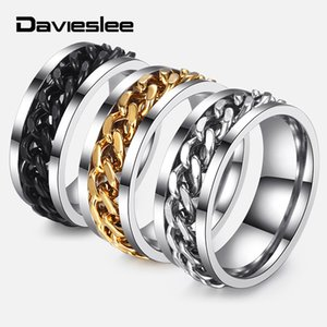 Davieslee Spinner Ring For Men Jewelry Punk Black Gold Silver Color Curb Link Stainless Steel Mens Rings Fashion Gift DKRM30