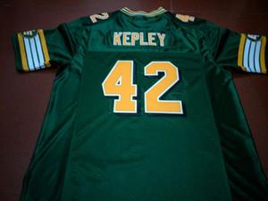 Uomo Edmonton Eskimos # 42 Dan Kepley Bianco Verde reale Completo ricamo College Jersey Taglia S-4XL o personalizzato qualsiasi nome o numero maglia