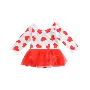 Love Print Mesh Skirt Baby One-Piece Dress Beautiful For Casual Daily Wearing Fashionable Kids Best Birthday Gift