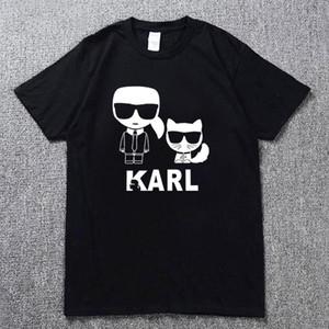 2019 camicia di modo arte Karl Lagerfeld femmina / maschio T-shirt in cotone nero gatto Harajuku camicia strada vestito hip hop