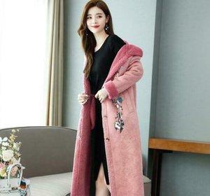Женская зима замша Шинель Съемный меховой воротник с капюшоном утепленная Цветочные длинное пальто n017