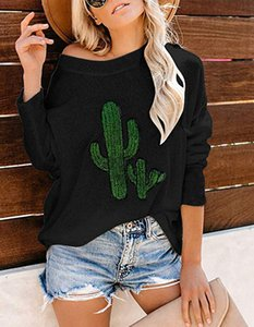 2019 European and American cactus burst models embroidered long-sleeved round neck sweater women's T-shirt