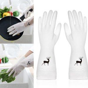 المطبخ المنزلية القفازات غسل الأطباق البلاستيكية منع زلة قفازات التنظيف المرأة واحدة الجلد الطباعة أنماط القفازات 2 2bd L1