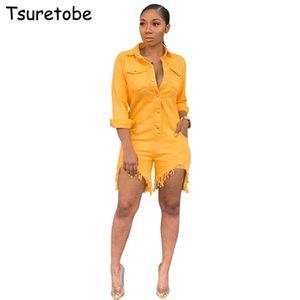 Tsuretobe Moda Rahat Kot Tulum Kadın Bodycon Kot Tulum Bayanlar Yüksek Kalite Uzun Kollu + Püskül Kısa Pantolon Kadın