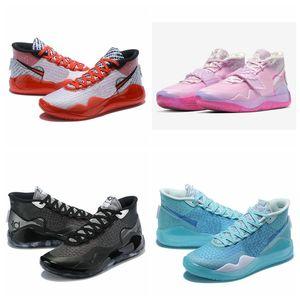 2020 neue Ankunfts-KD Kevin Durant 12 12s Aunt Perle Herren-Basketball-Schuhe ZOOM Schwarz Anthrazit Blau Anstarren YouTube Sport-Turnschuhe mit Kasten