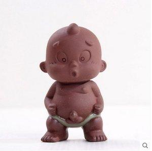Çay Evcil Süs Çin Halk Sanat Mor Kil Dekorasyon El Sanatları Figürler Küçük Keşiş Yixing Erkek Bebek Sprey Işemek Çay Aksesuarları Tercih