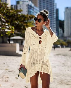 Beach Cover Up Crochet Knitted Tassel Tie Beachwear Tunic Long Pareos Summer Swimsuit Cover Up Sexy See-through Beach Dress