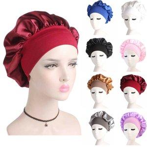 Estrenar 2019 Night Cap de Long Hair Care satén de las mujeres del capo del sueño sombrero de seda abrigo de la cabeza Ajuste gorros de ducha