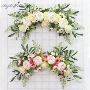 limiar flor porta coroa de flores artificiais decoração DIY casa casamento sala partido pingente de parede de Natal garland subiu peônia