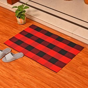Las alfombras de algodón a cuadros Felpudo Alfombras tartán Buffalo a cuadros en capas puerta Mats al aire libre para porche frontal Entrada de forma Cocina Baño EEA1352-5