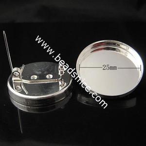 Beadsnice Brass Brooch Findings Base Daiameter 25mm simple handmade Lead-Safe Nickel-Free as gift sold by PC ID10136