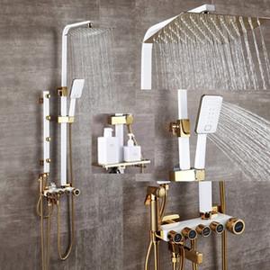 Salle de bains de luxe blanc showerset d'or avec douche bidet avec garniture de douche d'or étagère salle de bains douche Ensemble robinet baignoire robinet