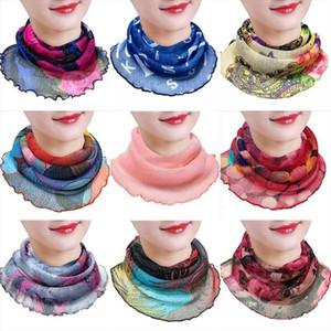 Tulle шелковые шарфы женщины Pareo Sarong Sunscreen Wraps Wraps лето цветочная маска для лица тюрбан пляж мода вождение шарф моря шифоновое сухожилие YP628