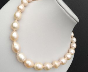 Immagini reali foto splendida 12-15mm south sea gold pink pearl necklace 18 INCH Sorprendi bellezza
