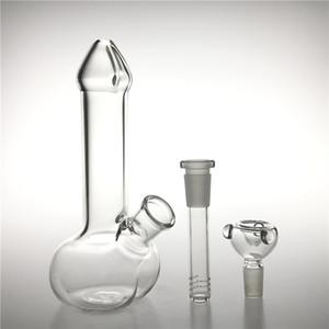 Новые 7-дюймовые стеклянные водяные бонги Водопроводные трубы со стеклянными диффузорами Чаша Толстый Pyrex Recycler Головная стеклянная мензурка Dildo Mini Bong