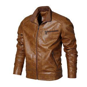 Mens PU Faux Leather Jacket Winter Male Casual Color sólido Chaqueta fina Chaqueta cortavientos Abrigos Vintage