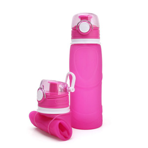Outdoor Travel Portable Silicone Retractable Folding Water Bottles Candy Color Collapsible Foldable Travel Camping Outdoor Bottle