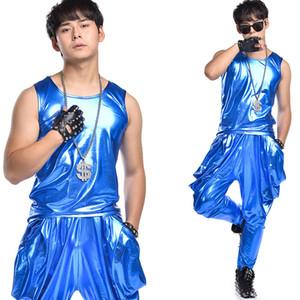 Hip Hop Dance Kostüme männlich blauer Anzug Set Street Tanzende Kleidung DS DJ Kostüme Erwachsene Sänger Tänzerin Nachtclub Show Wear DT777