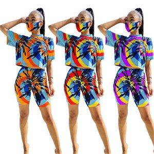 Frauen-Sommer-Bindung gefärbte Tracksuits mit Maske Frau Schlank Laufen 2ST Suits O-Ansatz T-Shirts Shorts Kleidung Sets Outfits
