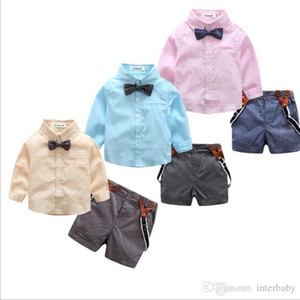 Baby Kids Clothes Boys Gentleman Suits Bowtie Shirts Overalls Pants Child Clothing Sets Fashion Boutique T Shirt Shorts Pants Outfit BYP5089