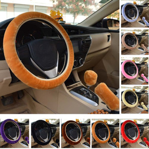 Partito Protector Steering Universal Car Wheel Cover peluche Candy Warm Slittamento Solid rotella Cuscino favore Decoration auto HH9-2113