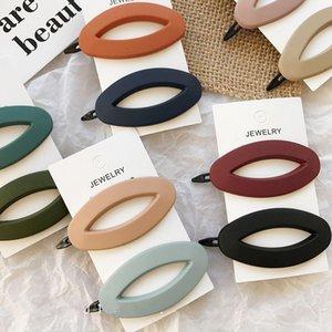 Corea Moda Color Sólido Scrub Resina Pinzas Para el Cabello Geométrica Hueco Oval Forma de Onda Horquillas Belleza Herramientas de Peinado dropshipping