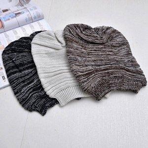 Unisex-Frauen-Mädchen-Männer beiläufige Baumwoll Plicate Baggy Beanie gestrickte Stretch Elastic Crochet Winter Ski Hüte Maxi-Schlapphut Caps