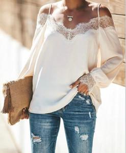Mulheres Designer Lace Painéis Tees Casual manga comprida Corte Vestuário Womens Casual pescoço camisetas Sexy deslizamento Magro Tees